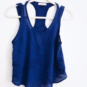 Tops - Blue Chiffon tank Top